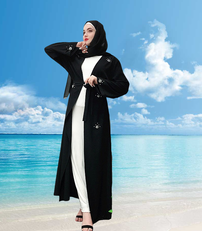 Muslim abaya long cardigan dress--black,pink--hand-made beads   LR225