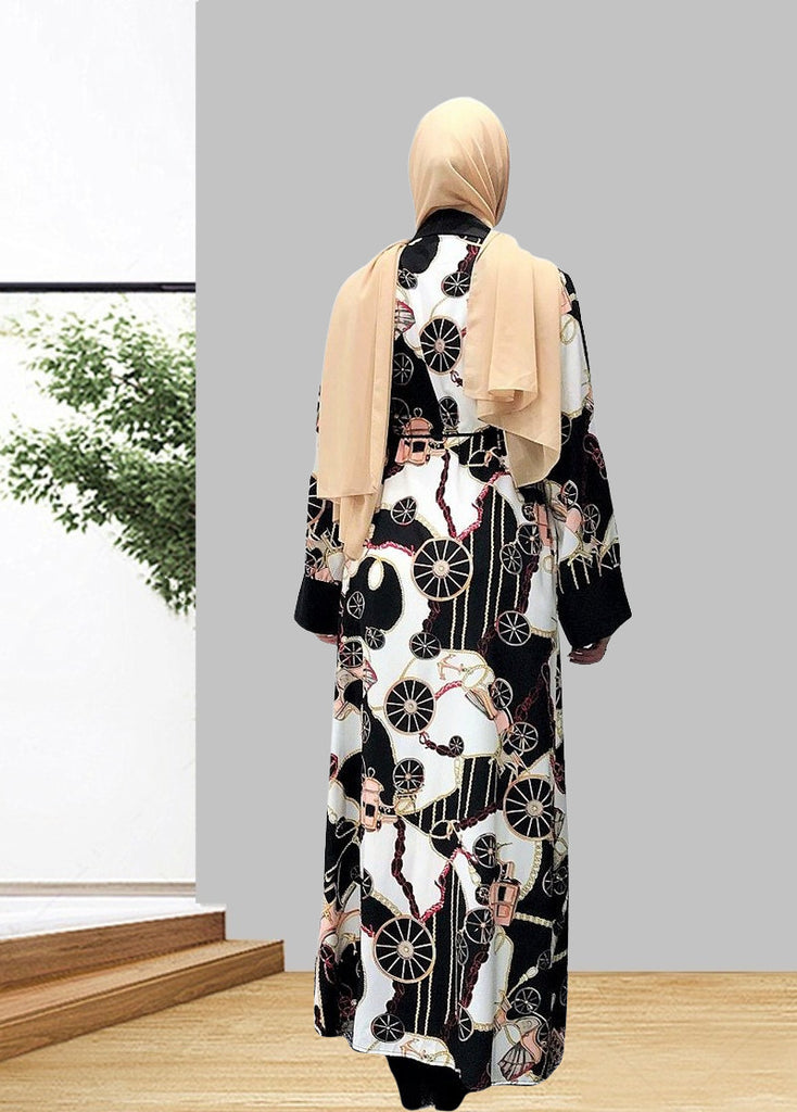 Muslim lady abaya long cardigan dress--black pattern printing--black patchwork LR244