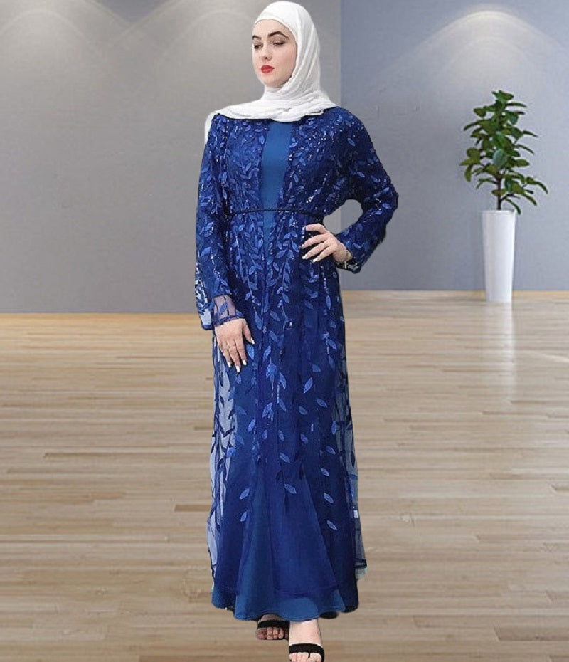Muslim lady--8 colors--emborid leaves--see through--party abaya dress long cardigan LR212