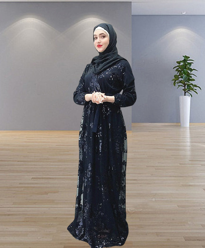 Muslim lady party abaya dress--7 colors--lace sequins--patchwork   LR22