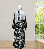 Muslim lady high quality abaya long cardigan--black--printed beige flowers--patchwork  LAY-LR217