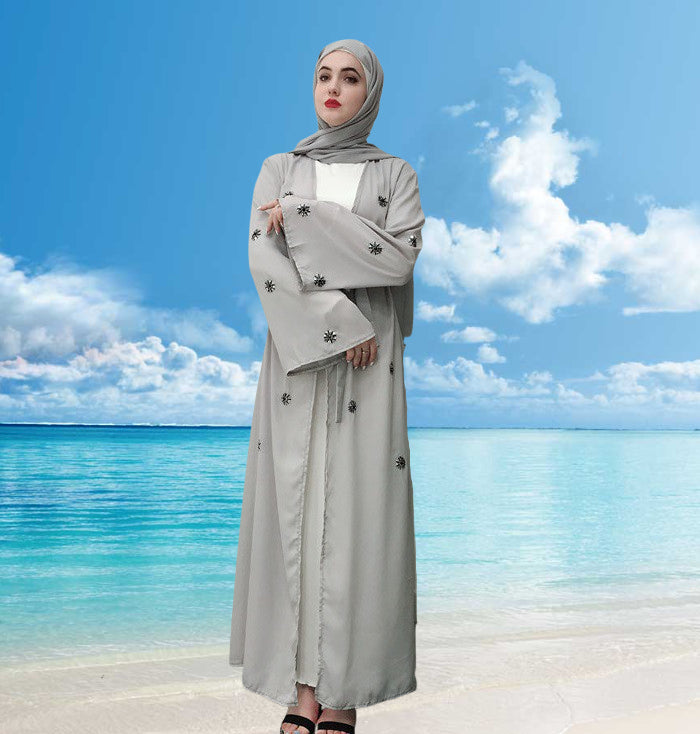 Muslim lady abaya long cardigan dress--grey--hand-made embroided flower   LR220