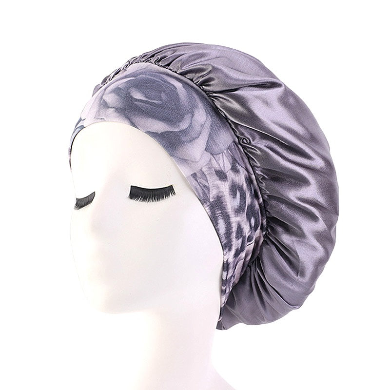 Women sleeping chemo salon elastic bonnet--wide flower band--6 colors JD-TJM-405B