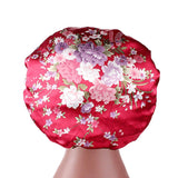 Women soft satin sleeping chemo wide band salon bonnet--flower printed--8 colors JD-TJM-301A