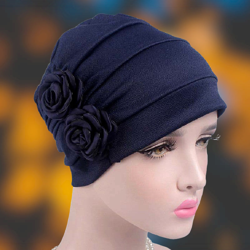 Muslim african women bonnet-chemo cap- flower attached--7 colors JD-TJM-241B