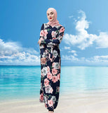 Muslim lady long maxi dress--3colors--printed flower--floor length--long sleeves   LR237