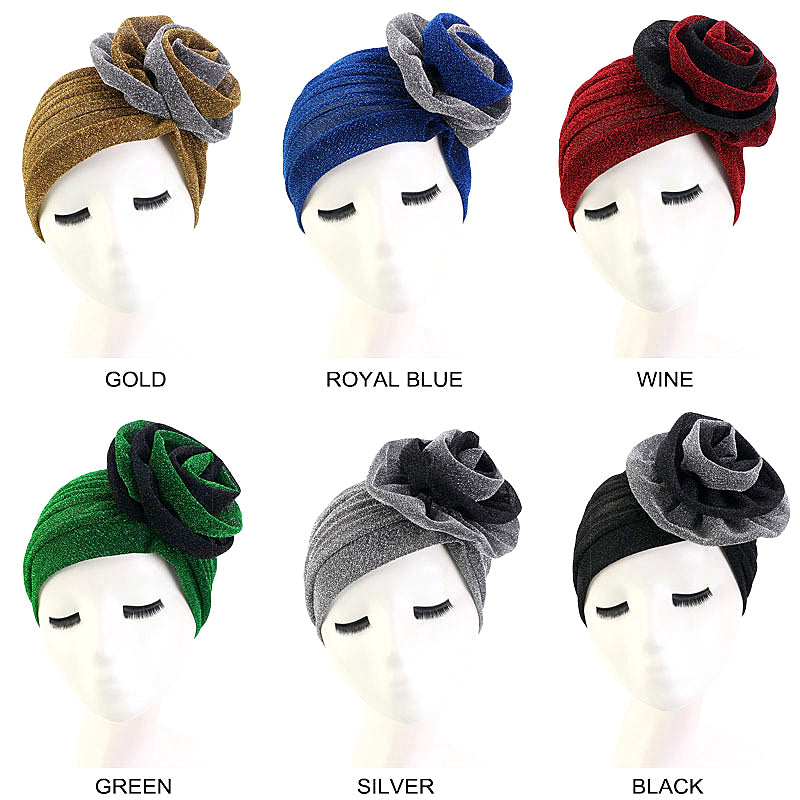 Muslim african women sparking turban-chemo cap-- flower attached--6 colors JD-TJM-322C