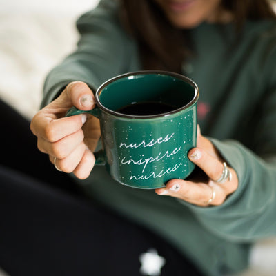 Green Campfire Mugs With White Script