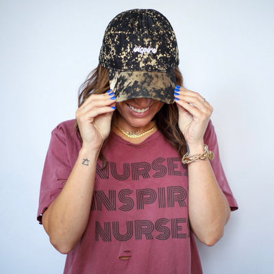 Black Bleached Hat + Maroon Distressed Tee Bundle