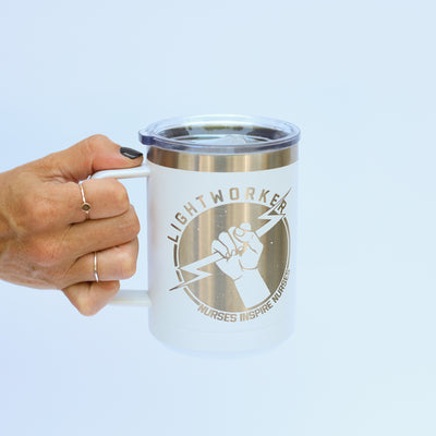 Lightworker White Handle Tumbler