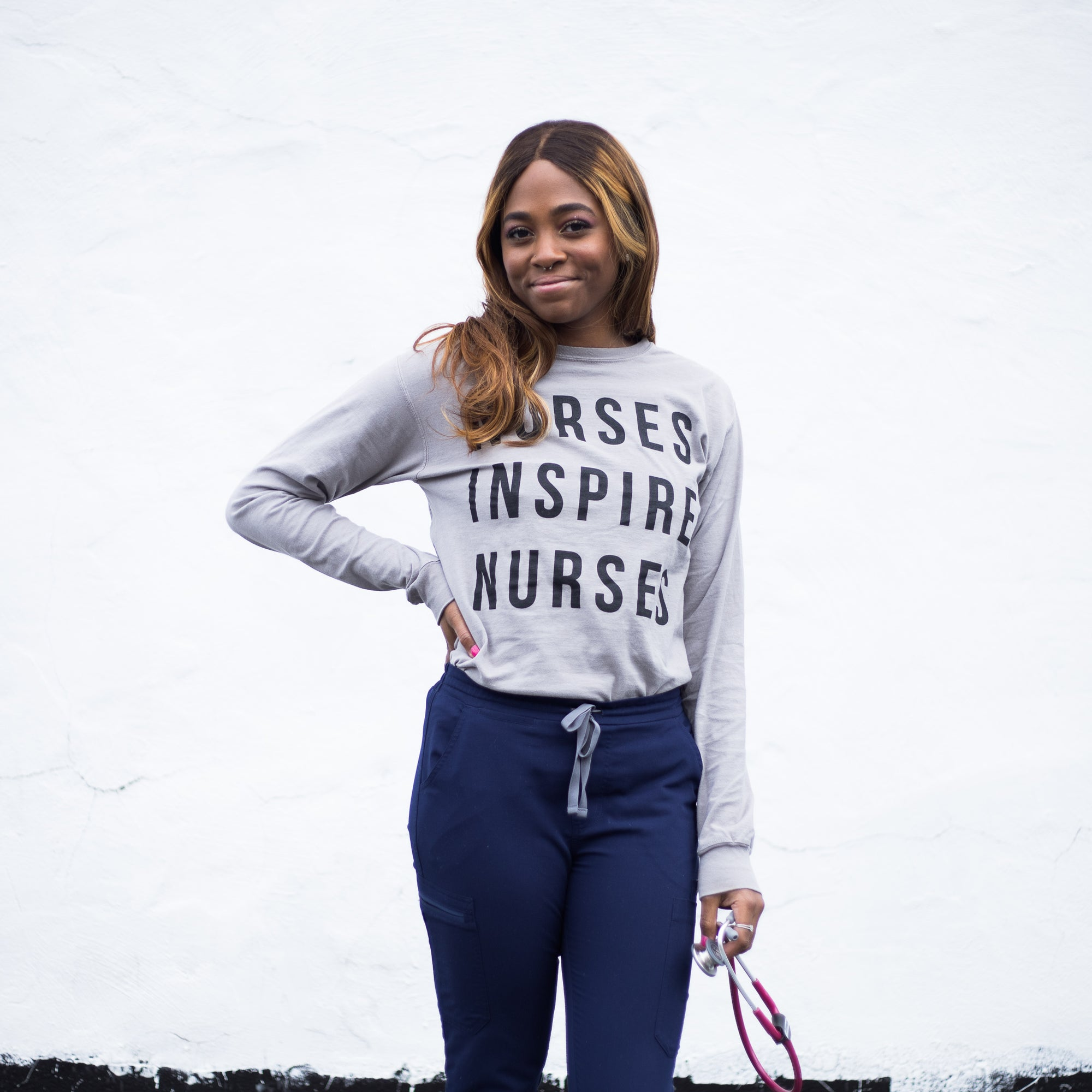Nurses Inspire Nurses Grey Classic Long Sleeve