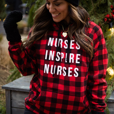 Nurses Inspire Nurses Red Buffalo Plaid Hoodie