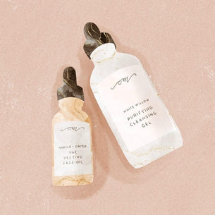 Purifying cleansing Gel and Marula Cactus Age Defying Oil hand drawn illustration by @kl.plans
