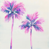 painted tropical palm trees