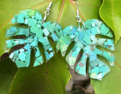 monstera earrings made from up cycled marine plastic