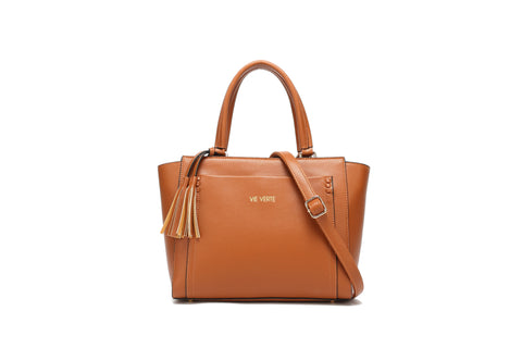 sustainable handbag brown with strap and handles