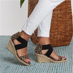Sofiawears Summer Round Toe High Heel Wedge Casual Ladies Sandals