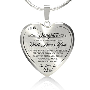 To My Daughter (Love Dad) Heart Necklace
