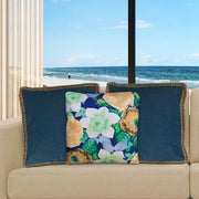 Dark Blue Cushion Cover 50cm x 50cm with Jute Edging (Poly-Cotton) - Sunburst Outdoor Living
