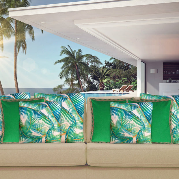 Dark Green Cushion Cover 50cm x 50cm with Jute Edging (Poly-Cotton) - Sunburst Outdoor Living
