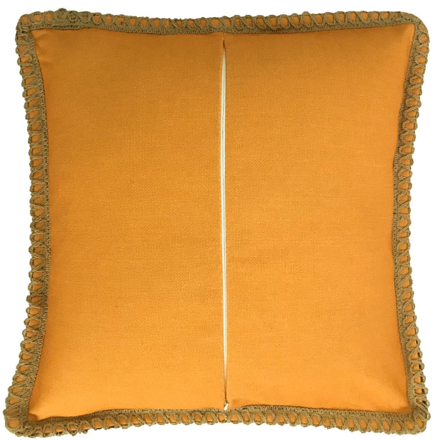 Plain Orange Cushion Cover 50cm x 50cm with Jute Edging (Poly-Cotton) - Sunburst Outdoor Living