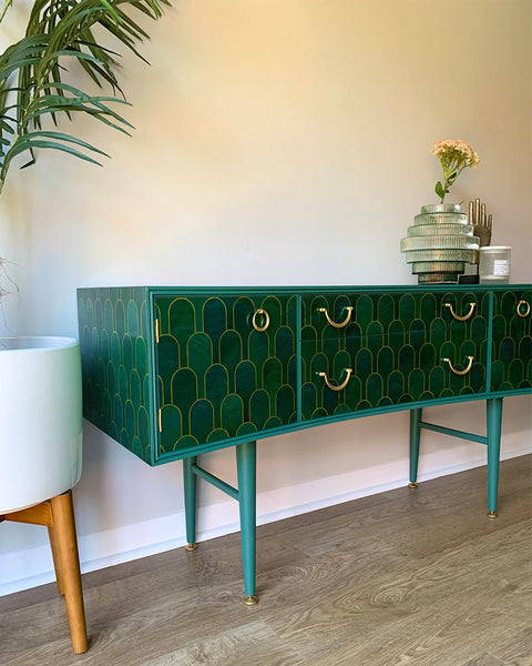 Vintage Teal Gold Sideboard TV Unit Cocktail Cabinet Upcycled In Bethan Gray