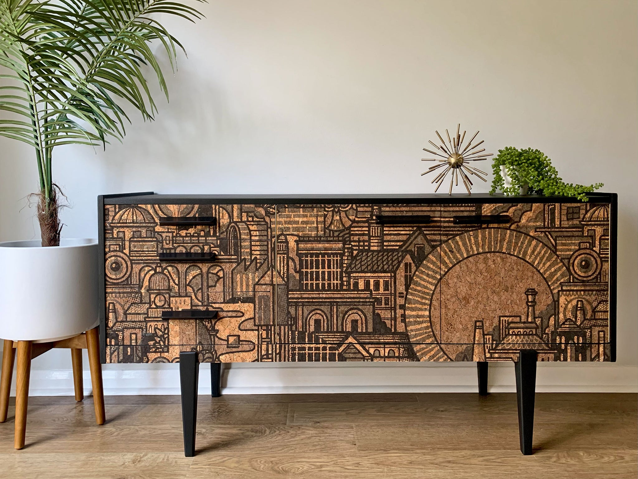 Vintage Sideboard TV Unit in Drew Millward 'Hit The North' Cork Design