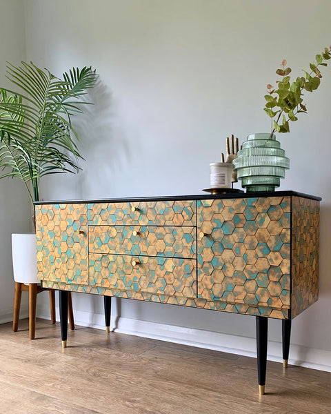 Vintage Teal Gold Sideboard TV Unit Cocktail Cabinet In Hexagon Print