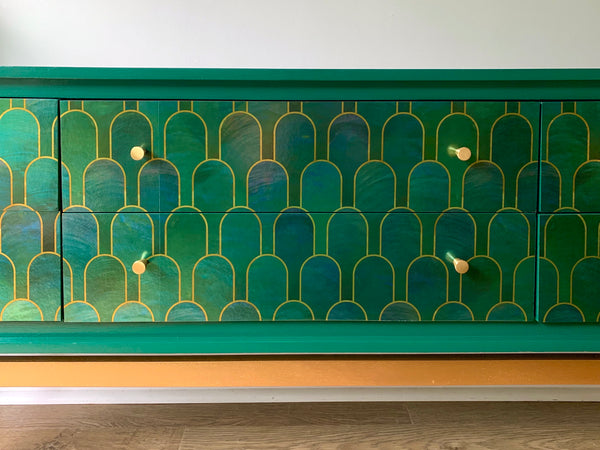 Made to Order: Vintage Teal Gold Sideboard TV Unit Cocktail Cabinet Upcycled In Bethan Gray