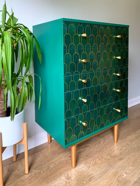 MADE TO ORDER: Vintage Mid Century Gold & Teal Chest of Drawers Upcycled In Bethan Gray