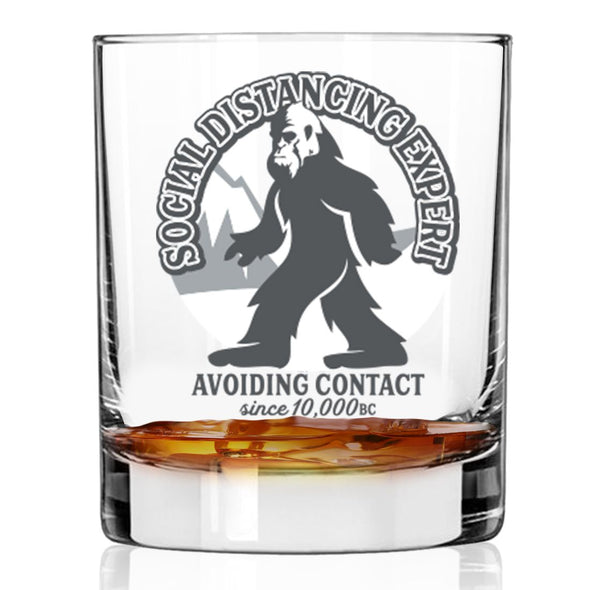 Social Distancing Expert Since 10,000 BC - Whiskey Glass