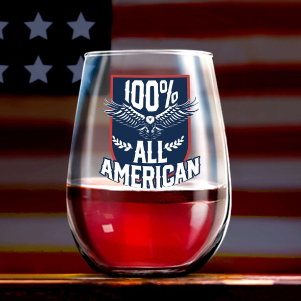 100% All American - Wine Glass