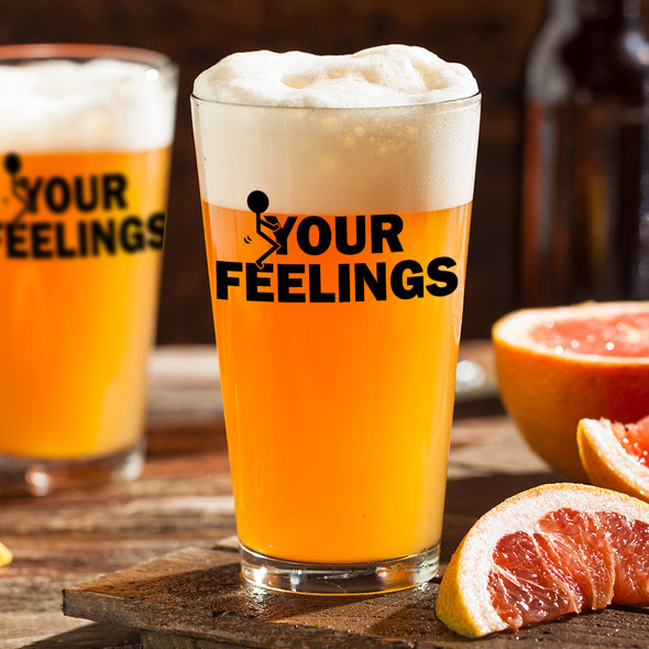 Pint Glass - Stick Figure F Your Feelings - Color