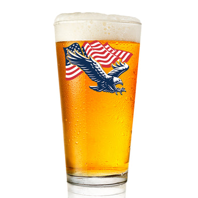 Eagle Flying with Flag - Pint Glass