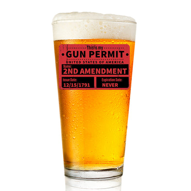 Pint Glass - Gun Permit Color
