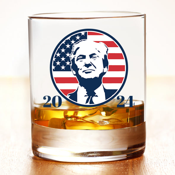 Whiskey Glass - Trump 2024 Circle Portrait