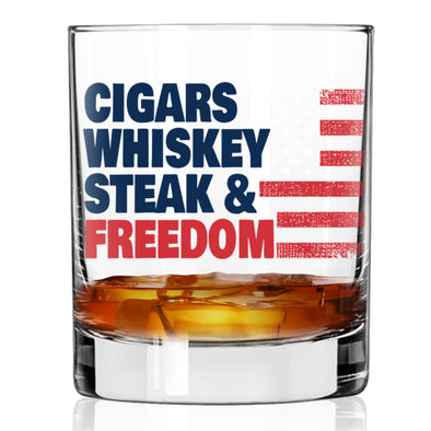 Whiskey Glass - Cigars, Whiskey, Steak & Freedom Color