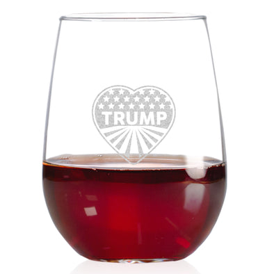 Wine Glass - Heart Trump - Stars and Stripes