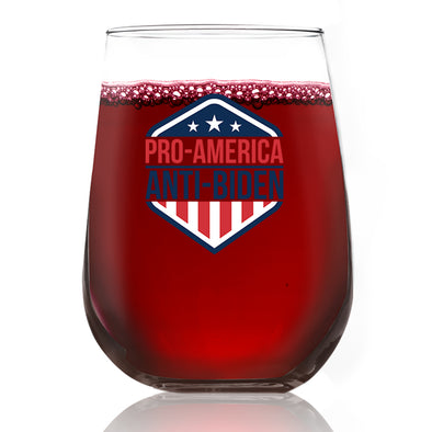 Wine Glass - Pro American Anti Biden