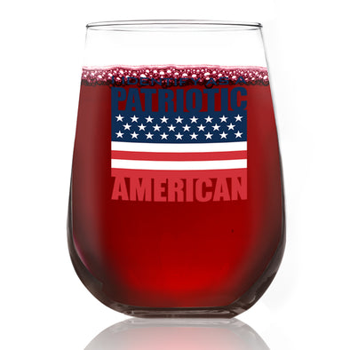 I Identify as a Patriotic American - Wine Glass