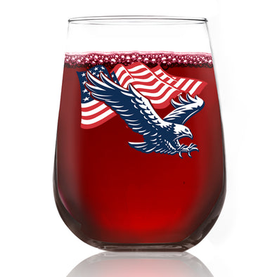 Eagle Flying with Flag - Wine Glass