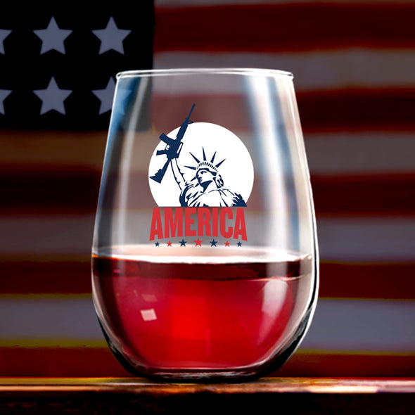Wine Glass - Statue of Liberty with AR Color