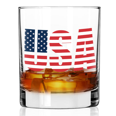 USA Emblem Flag - Whiskey Glass