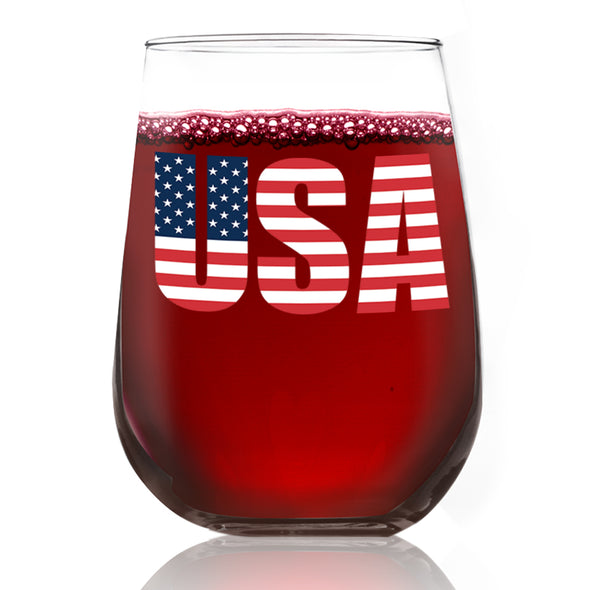 USA Emblem Flag - Wine Glass