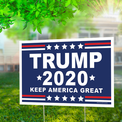 "Trump 2020, Keep America Great 12"" x 18"" Two Pack Yard Signs"