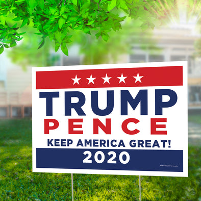 "Trump | Pence - Keep America Great 12"" x 18"" Two Pack Yard Signs"