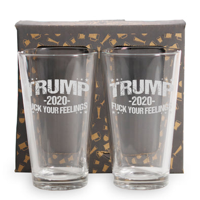 Trump 2020 Fuck Your Feelings - 2 and 4 Pack Pint Glasses
