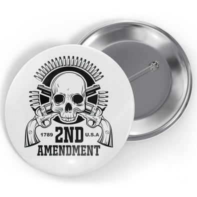 2nd Amendment - Skull Head Button