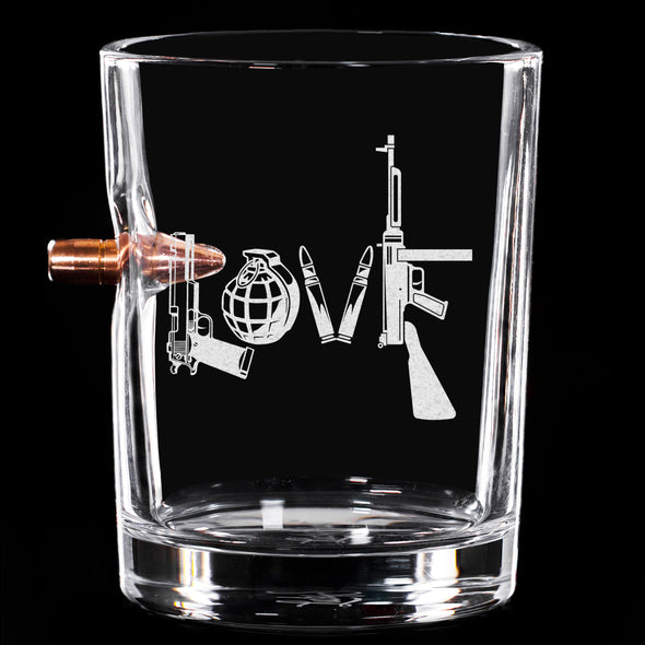 .308 Bullet Whiskey Glass - Love - Written in Guns and Weapons