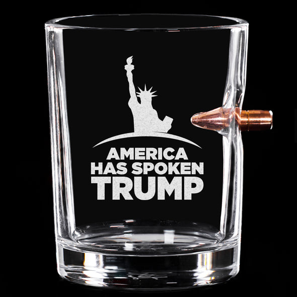 .308 Bullet Whiskey Glass - America Has Spoken TRUMP